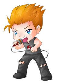 stock photo of chibi  - Cartoon illustration of a rocker isolated on white - JPG