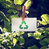 picture of reprocess  - Recycle Sign on Small White Paper Hanging at Garden - JPG