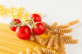 Mixed Italian Pasta In White Background