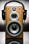 Speaker with headphones