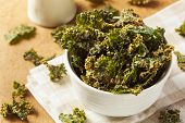 picture of kale  - Homemade Green Kale Chips with Vegan Cheese - JPG