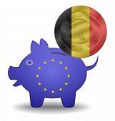 Piggy Bank And Euro European Belgium