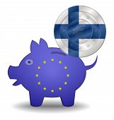 Piggy Bank And Euro European Filand