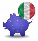 Piggy Bank And Euro European Italy