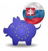 Piggy Bank And Euro European Slovakia
