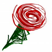 picture of red rose  - Red romantic artistic twirl drawn rose over white background - JPG