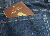 Thailand Passport In Denim Jeans Pocket
