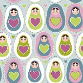 Seamless Pattern Russian Dolls On A Blue, Green, Purple Background. Vector
