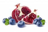 Pomegranate Half, Quarter And Blueberries Isolated On White Background