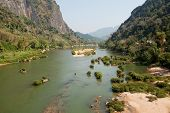 pic of ou  - River Nam Ou near Nong Khiao in Laos landscape in the province Luang Prabang - JPG