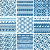 Vector set collections of nine 9 blue and white ornamental ethnic seamless patterns