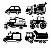 car icon, black transportation vector set