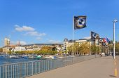 Zurich cityscape with flags