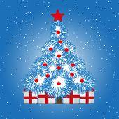 Christmas Treer On Snowy Blue Background