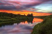 picture of novosibirsk  - Inya river in Novosibirsk region during beautiful summer sunset - JPG