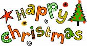 Happy Christmas Cartoon Doodle Text