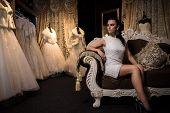 bride chooses a dress