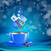 cream coffee blue cup cappuccino drink
