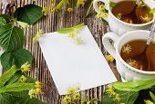 Linden Tea And Blank Paper