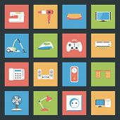 Home Furniture And Appliances Flat Icons Set