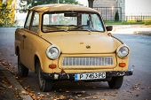 Old Yellow Trabant 601S Car On The Street