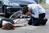 foto of pedestrian crossing  - Dead woman on the pedestrian crossing horizontal - JPG