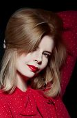 stock photo of youg  - beautiful blonde woman smiling with dramatic red lipstick - JPG