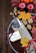 Happy Thanksgiving Dining Table Place Setting In Traditional Rustic Country Style With Hessian Wrapp