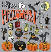 Halloween spooky elements and text set