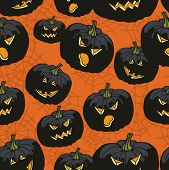 stock photo of drow  - Halloween doodles seamless pattern or background wiyh Pumpkin - JPG