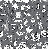picture of drow  - Halloween doodles icons in seamless pattern or background - JPG