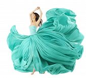 picture of flutter  - Woman Dancing In Fashion Dress Fabric Cloth Waving On Wind Flying Girl In Fluttering Gown And Flowing In Motion - JPG