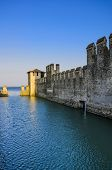 View of the wall of the Scaliger Castle in Sirmione, Lake Garda, Northern Italy