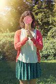 Cute Hipster Girl Holding A Big Lollipop