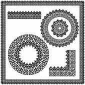 Set of square and circular ornament