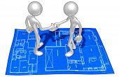 Home Construction Blueprint Handshake