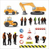 foto of construction machine  - Set of road under construction - JPG