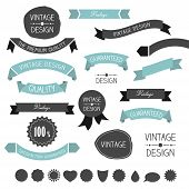 Set of simply flat vintage ribbons. Vector.