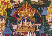 Thai Painting :birth Of Buddha
