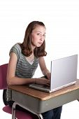 stock photo of pouty lips  - a young teenage girl at a computer with a pouty face - JPG