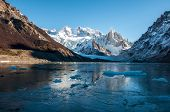 Frozen Lake At The Cerro Torre, Fitz Roy, Argentina