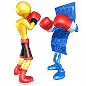 Gold Guy Boxer Versus Home Construction Blueprint