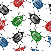 foto of potato bug  - Bug seamless pattern on white background - JPG