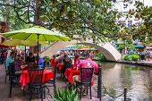 Tourists Dining On River Walk San Antonio Texas