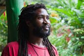 Portrait of African man with dreadlocks
