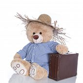 Teddy bear off on vacation with straw hat and suitcase isolated on white background