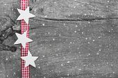Shabby chic christmas background in grey, white and red for a christmas or gift card