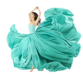 foto of flutter  - Woman Dancing In Fashion Dress Fabric Cloth Waving On Wind Flying Girl In Fluttering Gown And Flowing In Motion - JPG