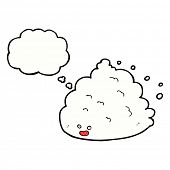 cartoon cloud character with thought bubble