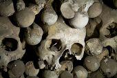 image of eye-sockets  - old bones and skulls in the Gothic vault of Kutna Hora - JPG